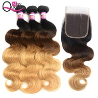 May Queen Ombre Brazilian Hair Weave Bundles With Closure 1b 4 27 Body Wave Bundles Human Hair 3 Bundles With Closure Remy