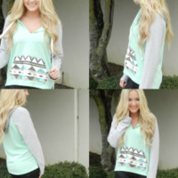 Sequin Tribal Hoodie in Mint