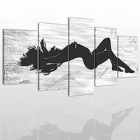 Abstract Black And White Canvas Wall Art Painting Modern Design Picture For Home Office Decor - 5 Pieces Nude Girl Framed On Wooden Frame Image Pictures Photo Artwork Decoration Ready To Hang