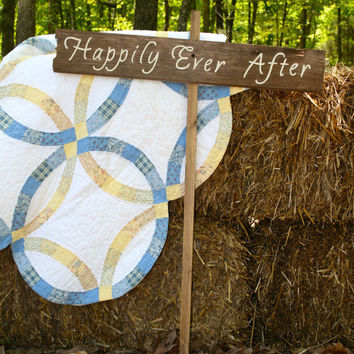 """Rustic Wooden Wedding Sign - """"Happily Ever After"""""""