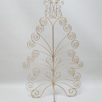 79cm Gold Tree Standing Metal Christmas Card Holder With Angel On Top - Holds 20 Cards