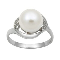 Sterling Silver Freshwater Cultured Pearl & Diamond Accent Swirl Ring (White)