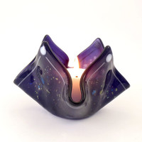 Purple Fused Glass Candle Holder Unique Handmade OOAK