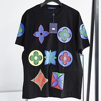 LV New fashion monogram print couple top t-shirt Black