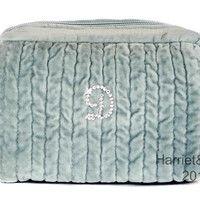 Porcelain Blue quilted velvet makeup pouch with hand placed Swarovski crystal initial