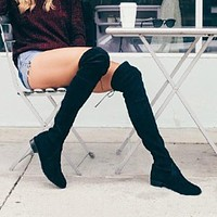 Black Elastic Flock Slim Fit Over The Knee Boots Women 2019 Winter thigh Lace up ladies low Chunky heels Long Thigh High botas
