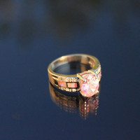 925 Sterling Silver ring with pink Opal and pink Swarovski element Crystal.