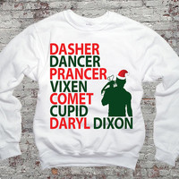 Reindeer Names Daryl Dixon Christmas TWD - Daryl Dixon Sweater- White 562