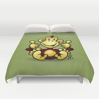 Manic Monkey with 4 thumbs up Duvet Cover by Cardvibes