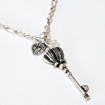 Silver Key Necklace, Silver Key Crown Chainmaille Necklace, Large Key Heart Crystal Charm Necklace, Best Friend Jewelry Friendship BFF