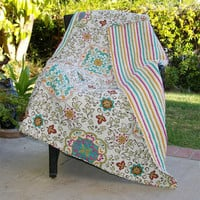 100-percent Cotton Throw Quilt Blanket with Bohemian Style Floral Pattern