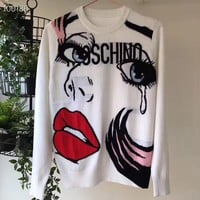 Moschino Women Sweater Lips Eyes Long Sleeve Knit - Best Deal Online