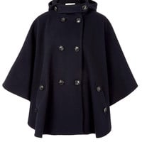 Sessùn Navy Reina Hooded Wool Cape | Women's Coats by Sessùn | Liberty.co.uk