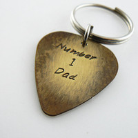 Guitar Pick, Keychain , Number 1 Dad, Custom , Hand Stamped , Key chain, friend gift, Key Ring, Personalized