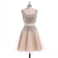 Two pieces Homecoming dress,short prom Dress,Rhinestones Prom Dresses,Party dress for girls,BD362