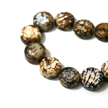 Chocolate Crackle Agate Beads, 14mm flat round, Brown and Cream Gemstone (823S)
