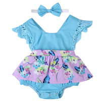 Purple and Blue Baby Girl Romper with Headband
