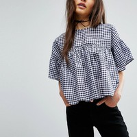 ASOS Smock Top in Gingham at asos.com