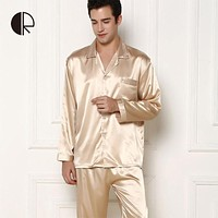 Men & Women's Long-Sleeve Silk Pajama Set