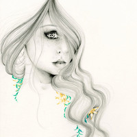 Pencil Drawing The Beauty Withinan Giclee Print of my Original Drawing Fine Art