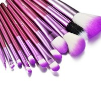 Glow 12 Pc Professional Crocodile Leather Design Makeup Brushes (Purple)