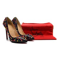 Christian Louboutin Black Patent Leather Color Nails High Heels 120mm