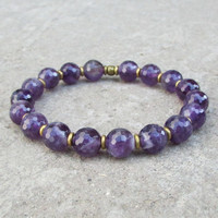 Healing, Genuine Faceted Amethyst Gemstone Yoga Mala Bracelet