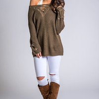 You're a Dream Lace Up Tunic Sweater (Olive)