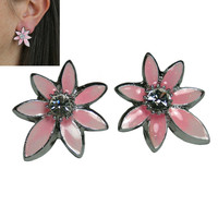 Hampton Direct Pink Flower Pierced Earrings Elegant & Decorative Earrings