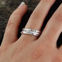 Silver And Gemstone Fine Stacking Ring