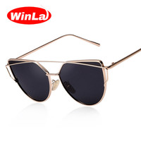 Winla New Fashion Cat Eye Sunglasses Women Famous Brand Designer Twin-Beams Ladies Sunglasses Metal Mirror Glasses Sexy Shades