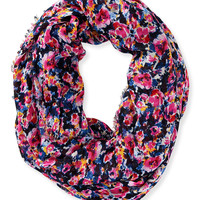 Aeropostale Womens Fringed Floral Infinity Scarf - Pink, One
