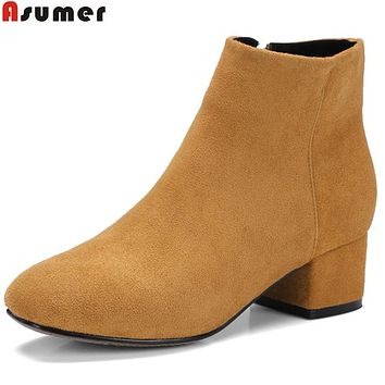 Asumer hot sale new women boots fashion flock zipper square toe simple ladies autumn winter boots square heel ankle boots