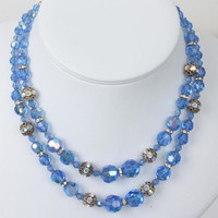 Blue Aurora Borealis Crystal Choker Necklace Two Strands Rhinestone Rondelles Vintage
