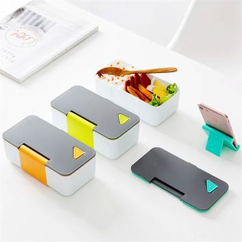 Lunch Box Picnic Food Storage Boxes PP Silicone Microwavable Container Bowl Fruit Rice Sushi Vegetable Box Phone Holder Cutlery