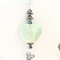 Ceramic Heart Necklace, Blue Ribbon Jewelry, Mothers Day, Mom Gift, Organza Ribbon, Heart Jewelry