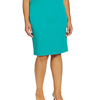 Kasper Plus Slim Crepe Skirt - Jade