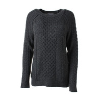 Vince Womens Heathered Cable Knit Pullover Sweater