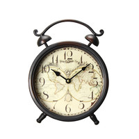 Vintage-Inspired Brown Iron Table Top Alarm Clock with World Map