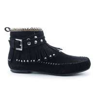 Black Tribal Studded Fringe Moccasin Bootie