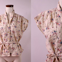 Vintage -70s You Babes - Floral Eyelet Lace- Ivory Cream - Ruched Cotton Button Up - Tie Belted Cap Sleeve Blouse Top