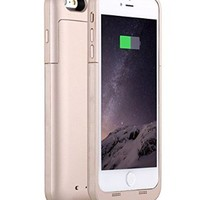 """BestFire® Powerful 6800mAh External Battery Case for iPhone 6 Plus Rechargeable Protective iPhone 6 Plus Charger Case Slim Fit Slider Removable Portable iPhone 6 Plus Charging Case 5.5"""" (Golden)"""