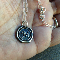 Necklace Letter Initial Sterling Silver Chain Antiqued Metal Charm Wax Seal Letters Bridesmaid Gift Wedding New Mom Mother Alphabet