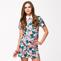 Floral Short Sleeve Mini Dress with Collar