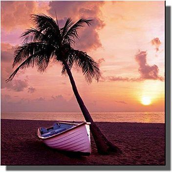 Palm Tree, Boat, Sunset, and Beach Picture on Stretched Canvas, Wall Art Decor Ready to Hang!.