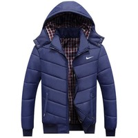 NIKE Winter Casual Hooded Zipper Men Women Cardigan Sweatshirt Cotton Jacket Coat Windbreaker Dark Blue