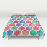 Hand Painted Watercolor Honeycomb Pattern Duvet Cover by micklyn
