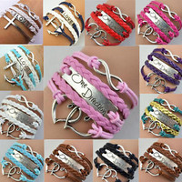 NEW Hot Jewelry Infinity Love Anchor Leather Cute Charm Bracelets 10 Styles