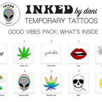 INKED by dani Temporary Tattoos: Good Vibes Pack
