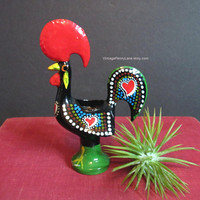 Vintage Toothpick Holder, Portuguese Rooster, Toleware Chicken, Painted Metal Folk Art